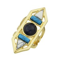 Fashion Bohemian Jewelry Or-Couleur avec perles noires White Blue Stone Marble Ring Triangle Geometric Finger Rings Women