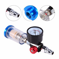 "Wholesale Oil Regulators - Wholesale-1 Set 150 mm Spray Pneumatic Gun Air Regulator Gauge+ In-line oil Water Trap Filter Separator 1 4"" Air Inlet"