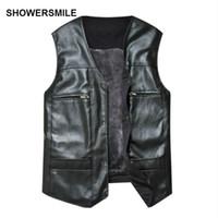 Wholesale Leather Vest Fleece - SHOWERSMILE Brand Large Size Black Leather Vest Men Fleece Lined Warm Jackets Sleeveless Coat Winter Leather Vest Cheap Gilet