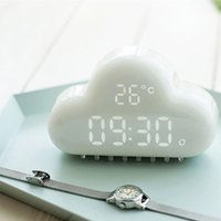 Wholesale Small Digital Cloud Alarm Clock Digital Geometric Mint Voice activated LED Wall Clock Luminous Cartoon Fashion Desk Wall Clock