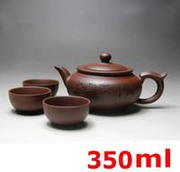 Wholesale Yixing Clay Teapots - 2017 Kung Fu Tea Set Yixing Teapot Handmade Tea Pot Cup Set 350ml Ceramic Chinese Tea Ceremony Gift BONUS 3 CUPS 50ml Gift