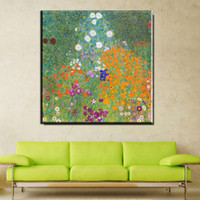 Wholesale canvas oil paintings huge - ZZ734 Huge Gustav KLIMT beautiful flower giclee print CANVAS WALL ART decor poster oil painting print on canvas free shipment