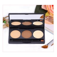 Hot Models 3 couleurs Eyebrow Face Foundation Base Maquillage Matte Shimmer Pressed Powder Palette Concealer Puff Contour Compact Cosmetics