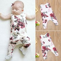 Wholesale Fashion Floral Printed Romper Lovely Baby Girls Kids sleeveless Jumpsuit Toddler Summer Clothes Flower Outfits Cotton Blend K006 New Arrival