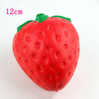Wholesale Red Apple Fruit - 20pcs lot Slow Rising Squishy Jumbo Strawberry Red Phone Charm Squeeze Toys Squishies Soft Fruit Kids Toys