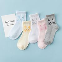 Wholesale Cool Boy Socks - 2017 New Arrival Kids Boys Girls Summer Cartoon Cat Socks Kids Cool Mesh Hollow Cotton Soft Socks Big Children Baby Candy Socks A6819