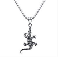 Wholesale Alligator Pendant - Men Bike Necklaces Stainless Steel Crocodile Charm Alligator Pendant Necklace for Men Fashion Animal Jewelry Silver PN-710