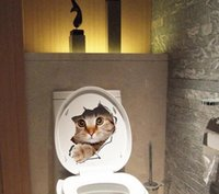 Wholesale Dog Decal Sticker Wholesale - Hole View Vivid Cats Dog 3D Wall Sticker Bathroom Toilet Living Room Kitchen Decoration Decals art sticker poster