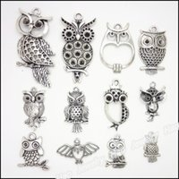 старинная сова оптовых-Wholesale- mixed 48 pcs Vintage Charms Owl Pendant Antique silver Fit Bracelets Necklace DIY Metal Jewelry Making
