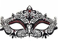 Wholesale Filigree Diamond - Luxury His & Hers Couple Masquerade Mask Adult Metal Filigree Venetian Ball Prom Mardi Gras Costume Diamond Party Mask