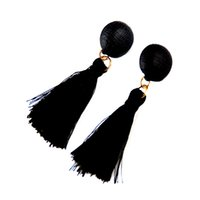 Wholesale Solid Gold Beads Wholesale - 2017 National Wind Stud Earrings Round Beads Bohemian Short Tassels High Grade Earrings Dainty Solid Color Jewelry For Girls women