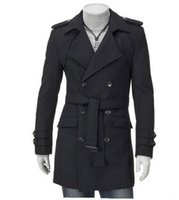 Mens Plus размер Slim Fit Trench Coat 4XL 5XL Black Grey Double Breasted Long Trench Coat Men Осень Зимний мужской куртка