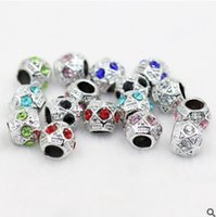 Wholesale Rhodium Spacer Beads - JLN Rhinestone European Big Hole Alloy Beads Spacer Charm Fit Bracelet
