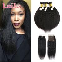 Wholesale italian yaki bundles closure resale online - Peruvian Virgin Hair Kinky Straight Hair Bundles With Closure Human Hair Bundles Italian Coarse Yaki With X4 Free Closure
