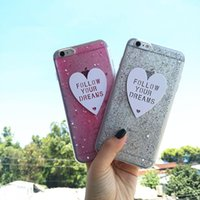 Wholesale Cover Follows - Paillette Sequin Skin Follow Your Dream Case Cover For Apple iPhone 6 6S Case Silicone 6 Series Bling Glitter Case For Phone