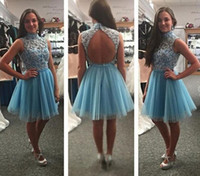 Wholesale Sexy Stylish Short Skirts - Stylish Blue Lace Short Homecoming Dresses High Neck Open Back Beaded Appliques Tulle Cocktail Party Dresses Short Prom Dresses Fluffy Skirt