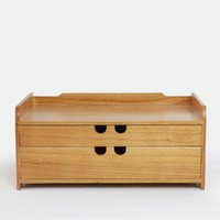 Wholesale Wood Desk Organizers - tool cabinet case A4 Wooden desk storage drawer debris cosmetic storage box bin jewelry office Creative gift Home