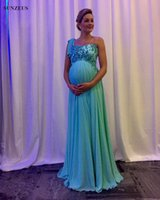 Wholesale Long Formal Pregnant Dresses - Elegant Maternity Party Dresses Empire One Shoulder Evening Dresses Pregnant Long Blue Chiffon Formal Wear Appliques Beaded Corset