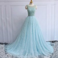 Wholesale Aqua Chiffon Evening Gowns - Luxury Aqua Blue Prom Dresses Long Formal Evening Party Gowns Sheer Neck Sleeveless Pearls Beads Crystals Tulle Lace Corset Back Formal Gown