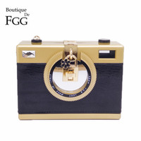 Wholesale Beige Hard Case Clutch - Wholesale- Fashion Camera Clutch Handbag For Women Evening Party PU Shoulder Bags Casual Crossbody Bag Ladies Hard Case Box Clutch Bag