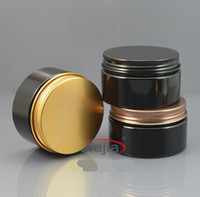 Wholesale Metal End Caps - High-end electroplating aluminum cover 100G Plastic Cosmetic Cream Jars With aluminum Container Packaging cover free shipping