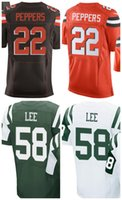Wholesale Sizes 58 - New 2017 Mens 58 Darron Lee Jersey Youth 22 Jabrill Peppers White Orange Green Kids Team Color Women's Jerseys Size S-4XL Best Quality