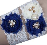 Wholesale Green Bridal Garter - Blue Lace Wedding Bridal Garter Set Handmade Flowers Rhinestones Vintage Lace Wedding Bridal Leg Garters 2017 In Stock Cheap