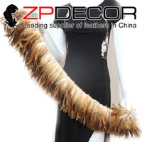 wholesale rooster feathers natural UK - ZPDECOR 2016 New Arrival 6-8 inch Premium Quality Natural Beautiful Half Bronze Rooster Feathers Strung for Dress and Party Decoration
