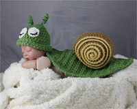 Wholesale Crochet Baby Cowboy Hats - Newborn Baby Photo Props Set Infant Crochet Knitted Cowboy Costume Photography Props