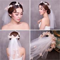 Wholesale Korean Wedding Flower Wreath - Woman headdress hair Lomen bride headdress headdress flower wreath of Korean wedding dress hair accessories 154059 one veil