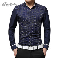 Wholesale Ds Shirt - Wholesale- Chemise Homme New Fashion Men Casual Shirt Turn-Down Collar Long Sleeved Printing Dress Shirt Men High Quality Camisas DS-009