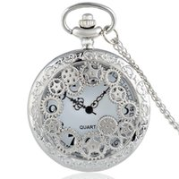 Wholesale Skeleton Watch Necklace - Wholesale-2016 New Silver Gear Hollow Skeleton Vintage Quartz Pocket Watch Steampunk Necklace Men Women Pendant Best Gift P200