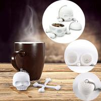 t filtro venda por atacado-Boa qualidade Silicone Branco T-Ossos de Crânio Ferramentas de chá Infusor de Saúde Coador Filtro Coador filtro de chá Difusor IC587