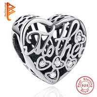 Wholesale Love Heart Shaped - BELAWANG fit Pandora Bracelet&Necklace DIY Making Heart Shape Crystal Charm Beads 925 Sterling Silver Jewelry for Mother Thanksgiving Day