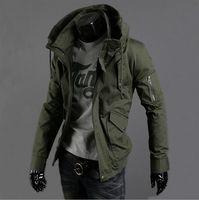 Wholesale Men Sexy Coats - Wholesale- Free Shipping New Slim Sexy Top Designed Mens Jacket Coat 3 Colour:Black,Army green,Blue,hot,Men Jackets Plus Big Size S-5XL