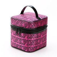 Wholesale Hand Bag Love - LOVE VS PINK makeup bag double zippers waterproof cosmetic bags cube cases leopard pink hand bags pouch organizer for women 17*17*18cm