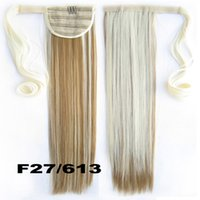 Venta al por mayor-47Colors 22inch falso cabello Ponytail Long Straight Hair Pieces Drawstring Cinta Hairpiece Clip En Pony Tail Hair Extensions