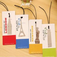Wholesale Paper London - Wholesale- London Elizabeth Eiffel Tower Statue Of Liberty Metal Book Markers Metal Bookmark For Books Paper Clips Office Supplies