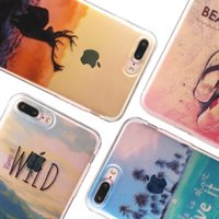 Per iPhone 7 più Semplice trasparente Soft TPU Case Sunset neve Mountain City Coperture Ocean Patterns per iPhone 6s 6 plus Opp