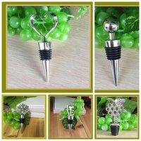 Wholesale Snowflake Wine - Wine Stoppers Rubber Champagne Bottle Stopper Metal Ball Novelty Christmas Snowflake Love Heart Bottle Stopper Bar Tools CCA6434 120pcs