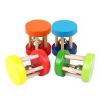 Wholesale Funny Baby Rattles - Wholesale- Funny Wood Toys Baby Rattle Toys Ring Bell Music Intellectual Wooden Educational Toy for Kids Random Color