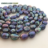 Wholesale Good Necklace Rope - long necklace pearls blue Colourful Rope knotted twisted 2 rows top quality good sheen Lustrous semi baroque irregular for women