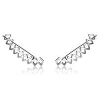 Wholesale Earing Cuffs - Silver Plated Hollow Rectangle Clip Earing 2017 Non Piercing Earrings For Women Metal Ear Clips Fashion Ear Cuff No Hole