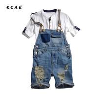 Wholesale Mens Denim Suspenders - Wholesale- Mens Slim Straight Pants Distressed Jeans Ripped Jumpsuit Wash Jeans Denim Overalls Male Casual Pants Suspenders Bibs