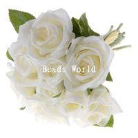 Wholesale Silk Rose Flower Bunches Wholesale - Wholesale-High Quality Export 1 Bunch White Silk Artificial Flower Rose Bouquet Wedding Home Decoration Party Decoration 27cm(W05778 X 1)