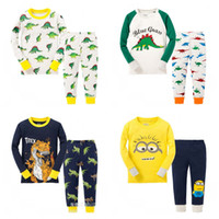 Wholesale Dinosaur Pyjamas - boys pyjamas kids pajamas sets 2-7T kids clothes Children cotton animal dinosaur printing pajamas suit baby girls boys long - sleeved Sleep