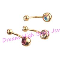 acero inoxidable anodizado al por mayor-Gold Belly Rings bar Anodized Double Gem Belly Button Navel Body Piercing Jewelry AB claro Rosa 14G 316L acero inoxidable DH1118