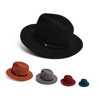 Wholesale Safari Cap - Unisex Mens Womens Wide Brim Crushable Wool Felt Brown Safari Hat Panama Fedora Festival Cap T259
