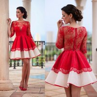 Wholesale Half Boat Models - Red Satin Cocktail Dresses 2017 for Girls Sexy Boat Neck Knee Length Lace Special Occasion Homecoming A Line Half Sleeve Prom Gowns