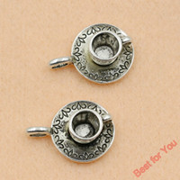 Wholesale Tibetan Teapots - Wholesale- 5pc Mixed Tibetan Silver Plated Coffee Cup Teapot Charms Pendants Jewelry Making Diy Charm Handmade Crafts c056